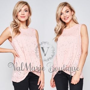 Pink distressed knot tshirt